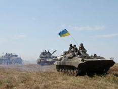 Возле Саур-Могилы уничтожены танк и 2 фуры с боеприпасами боевиков