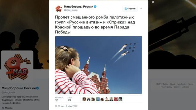 Минобороны РФ поведало обавиапараде, которого небыло
