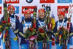 Украинки феерично победили в биатлонной эстафете на этапе Кубка мира