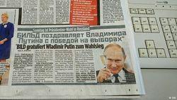 Bild заранее по-русски поздравила Путина с победой