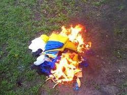 Надругательство над флагом Украины