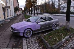 Нравы: припаркованное на газоне авто перекрасили в Днепропетровске