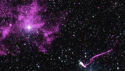 Обсерватория Чандра увидела убегающий пульсар сверхновой