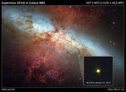 Космический телескоп Хаббл следит за галактикой М82