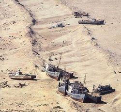 Восточная половина южной части Аральского моря полностью высохла