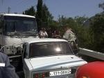 Маршрутка с пассажирами протаранила девять машин