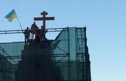 В Харькове на месте Ленина поставили крест