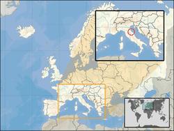 Сан-Марино на карте мира, Европы и Италии