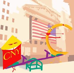 Курс доллара США падает к юаню на фоне ухудшения ситуации с кредитами в банках Китая