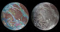 Астрономы составили полную геологическую карту Ганимеда, спутника Юпитера