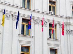 Победа будет одна - силовики объединяются флагами перед МИДом в Киеве