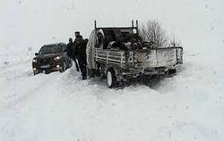 На дорогах Украины -- снежные заносы