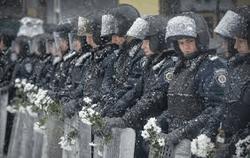 С солдатами ВВ митингующие боролись цветами