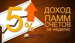 «Пантеон-Финанс»: 5% дохода за неделю принесли ПАММ-сервисы инвесторам Форекс