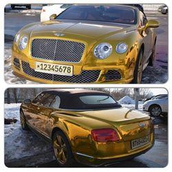 Такого нет и в Москве: по Киеву ездит золотой Bentley