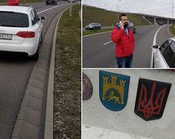 В Польше заблокировали авто украинца за красно-черную символику