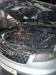 Сожженный автомобиль И. Лебедика