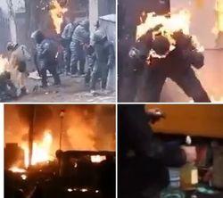 Видео по ту сторону баррикад: пылающие от «коктейлей» бойцы «Беркута»