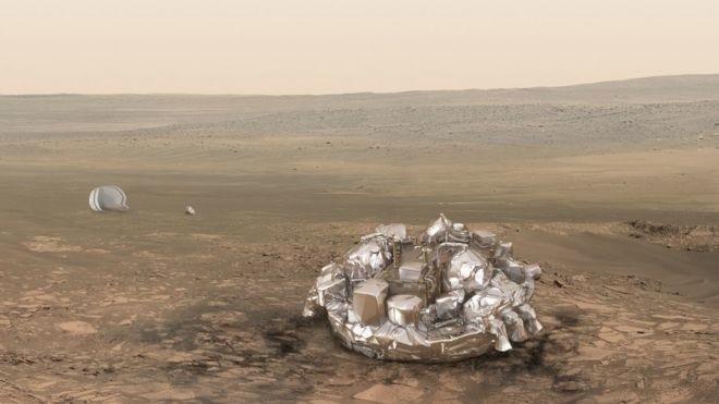 Аппарат «ЭкзоМарс» соспускаемым модулем приближается кМарсу