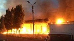 В Ангрене сгорел двухэтажный супермаркет