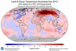 Ноябрь 2013 года стал самым теплым за всю историю наблюдений