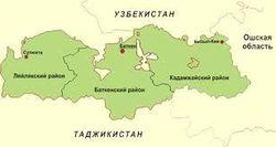 Кыргызстан на карте Центральной Азии
