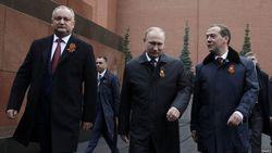 Додон с Путиным и Медведевым на Красной площади
