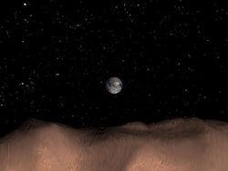 Вид на Землю с поверхности астероида Таутатиса