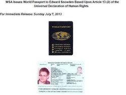 Сноуден получил паспорт гражданина мира, признаваемый в некоторых странах