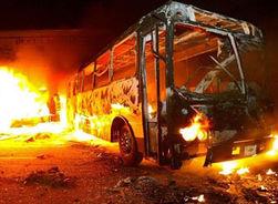 В московском аэропорту сгорел припаркованный автобус