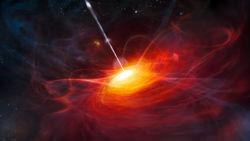 Астрономы увидели рекордный по мощности выброс квазара