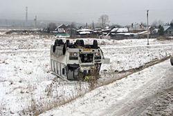 Очередная авария в Кузбассе: перевернулся автобус с пассажирами