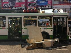 Взрыв газового баллона разворотил автобус в Москве, есть пострадавшие