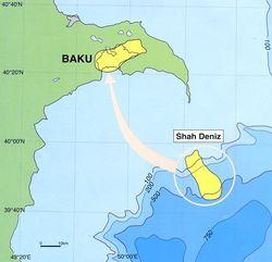 Карта расположения месторождения Шах-Дениз