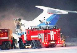 самолет загорелся в Сургуте