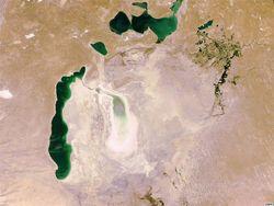 Аральское море в 2009 году. Фото NASA