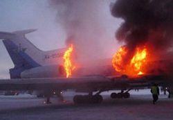 горящий Ту-154 в аэропорту Сургута