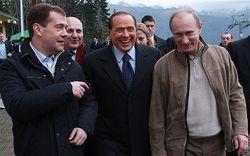 Путин, Медведев и Берлускони посетили Сочи