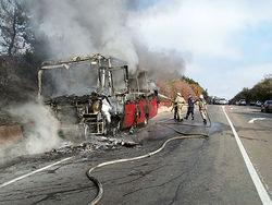В Подмосковье сгорел автобус, везший детей