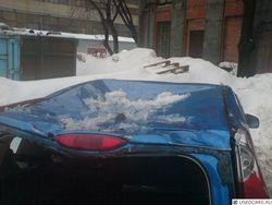 Как глыба льда упала на авто замначальника ГИБДД России?