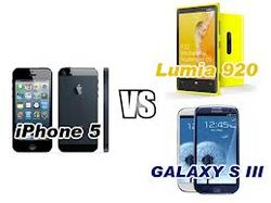 Galaxy S III, Lumia 920, iPhone 5