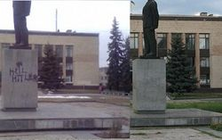 В Изюме памятник Ленину «украсили» свастикой – надпись уже вывели