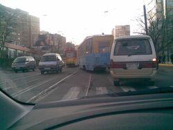 Трамвай с пассажирами