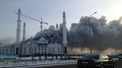 В Астане горит мечеть «Хазрет Султан»: 13 пострадавших