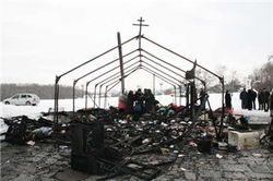В Чернигове сожжен походный храм УПЦ Московского патриархата