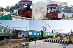 Баку: заглохший на переезде автобус попал под поезд, есть жертвы
