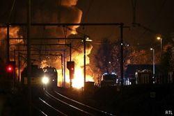 Пожар на железной дороге в Бельгии