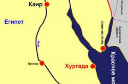 Хургада на карте Египта