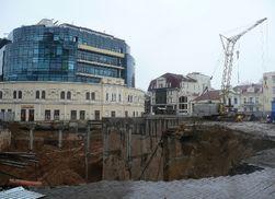 В Одессе ушел под землю строящийся паркинг