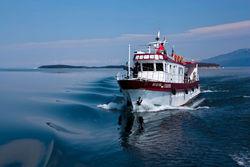 На озере Байкал теплоход врезался в катер